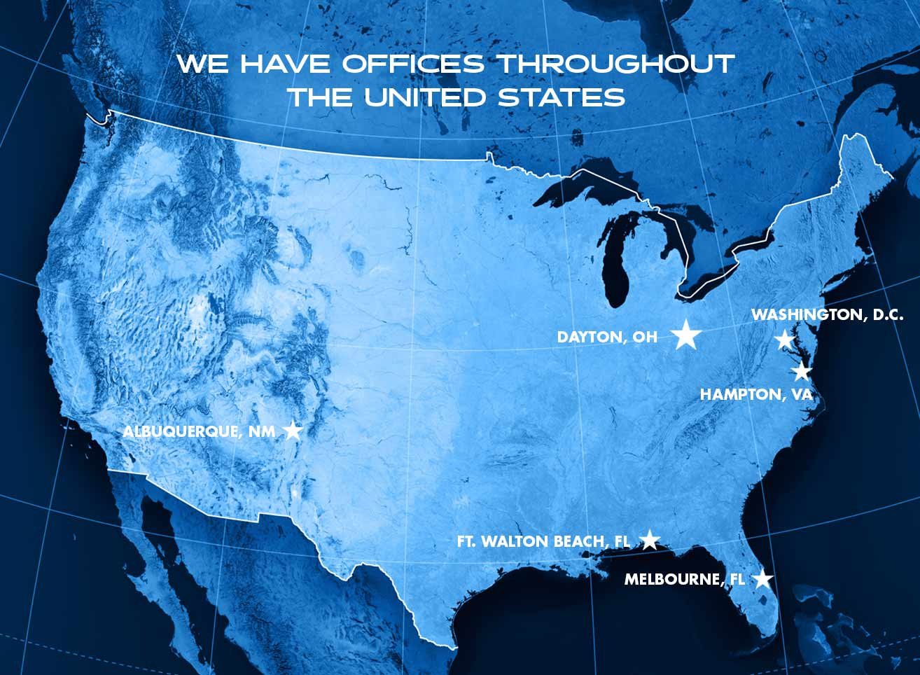 blue united states map with ccat locations